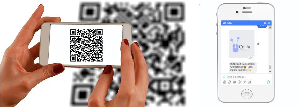 QR kodas susietas su chatbot