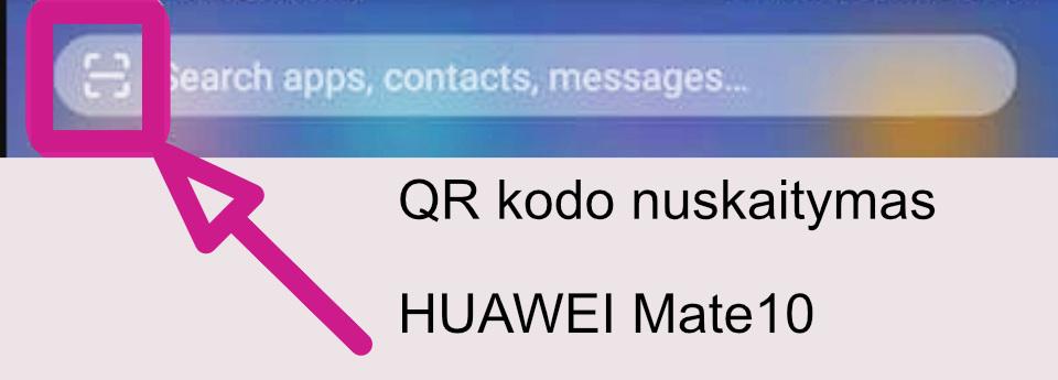 nuskenuoti QR kodą su HUAWEI Mate10