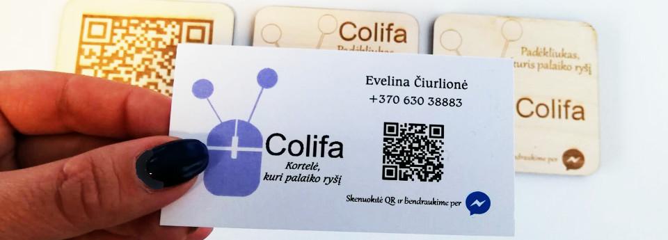 ryšį palaikantys daiktai - vizitinė kortelė colifa