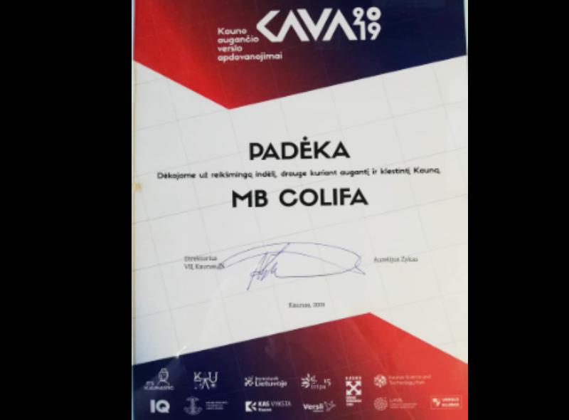 colifa k.a.v.a. apdovanojimai padėka